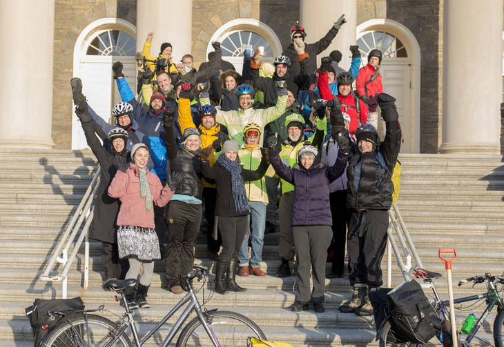 Penn State bike commuters gathered on the Old Main steps during Winter Bike to Work Day on Feb. 13. Many members of the Penn State community braved frigid temperatures to participate in the event.