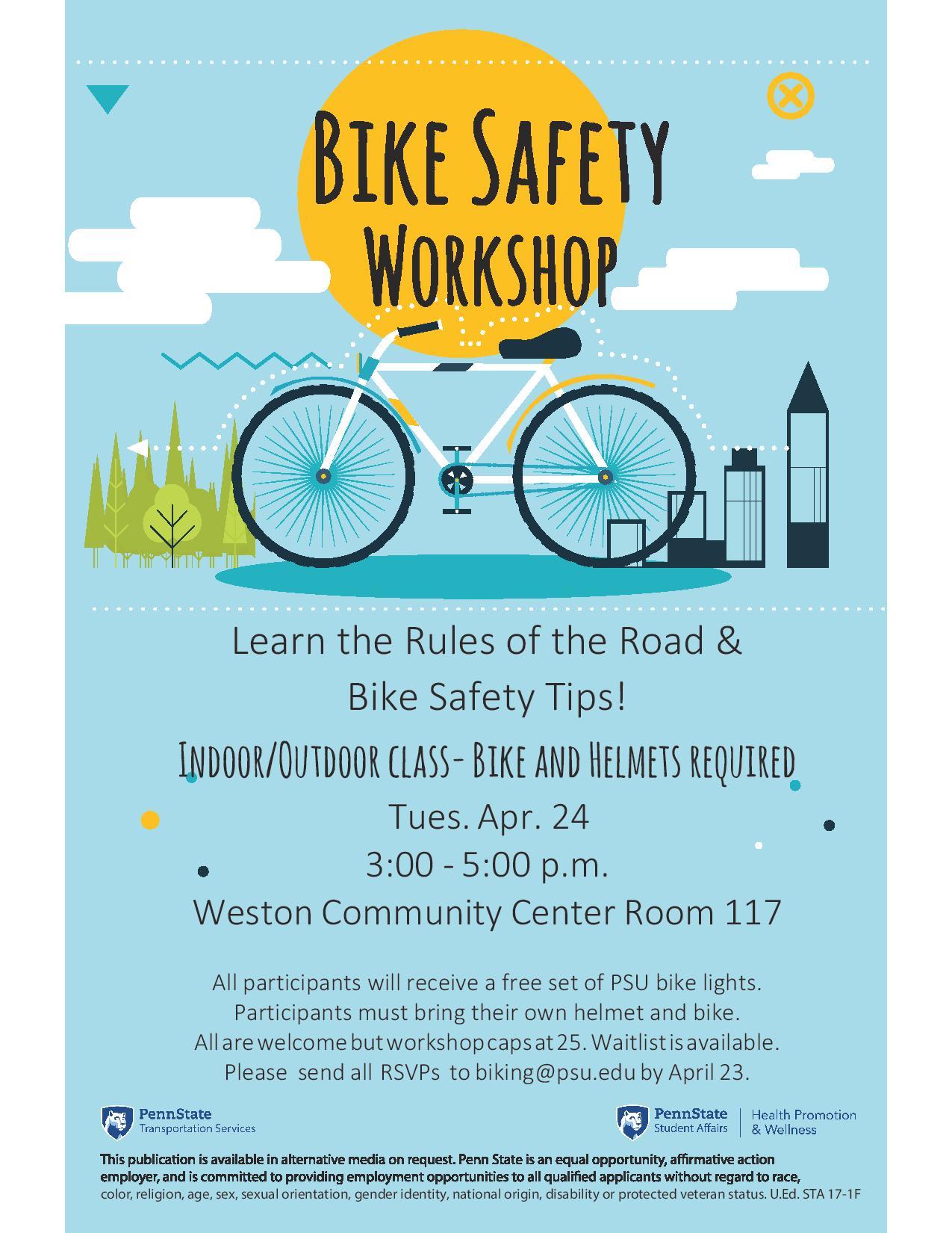 April Bike Safety Workshop Flyer