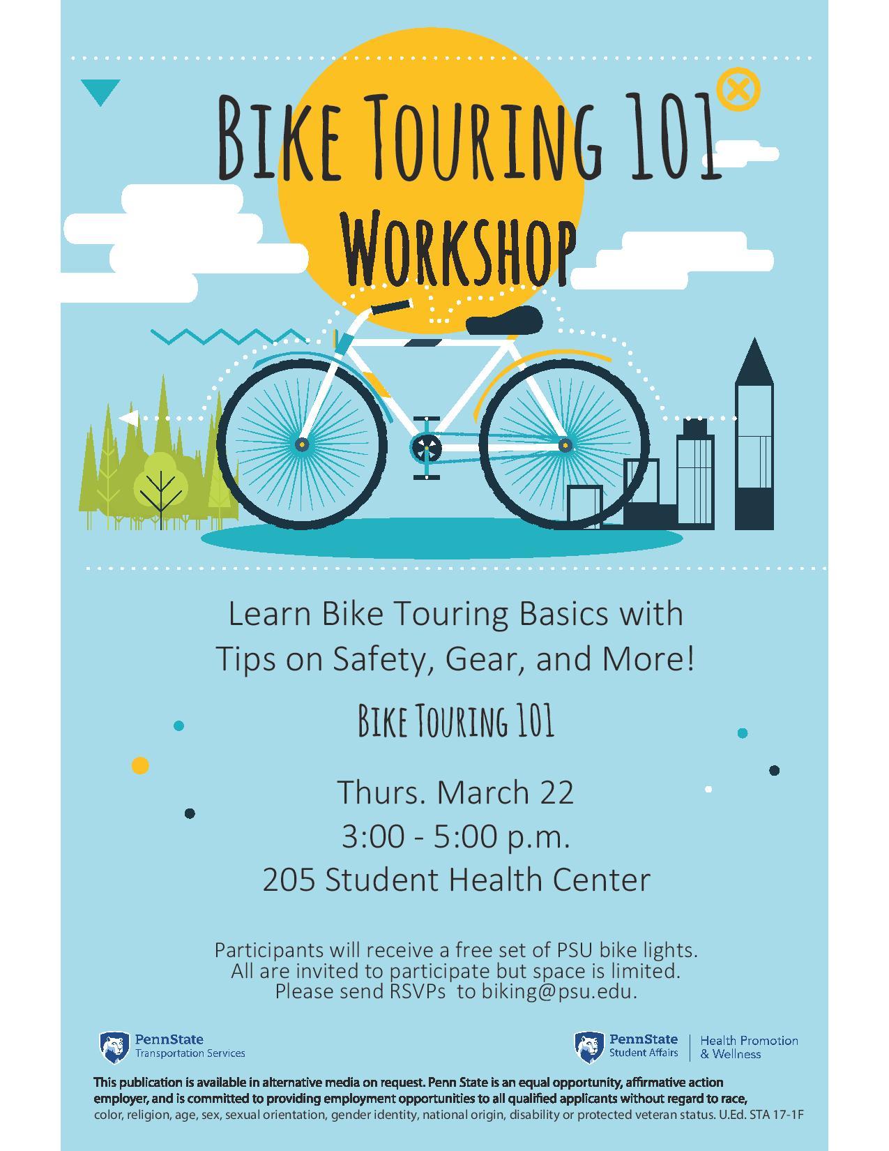 March 22 Bike Touring 101 Workshop Flyer