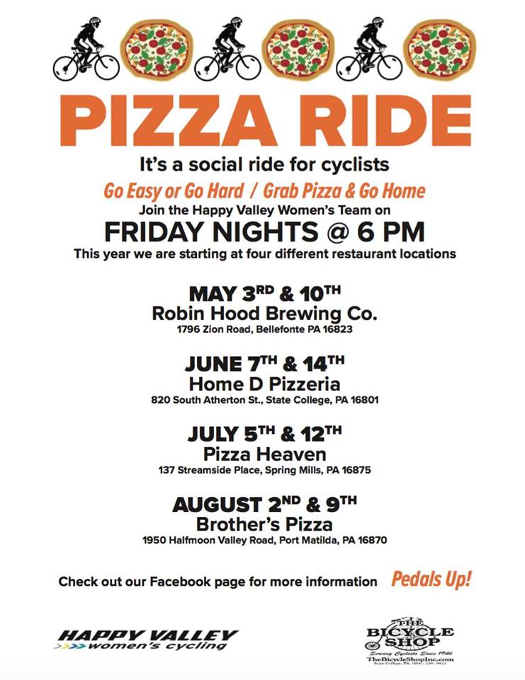 Pizza Rides with Happy Valley Womens Cycling Team